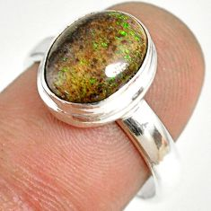 5.06cts natural honduran matrix opal 925 silver solitaire ring size 8 r76012