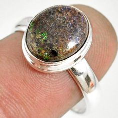 5.02cts natural honduran matrix opal 925 silver solitaire ring size 8 r76027