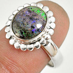 5.23cts natural honduran matrix opal 925 silver solitaire ring size 8 r76028