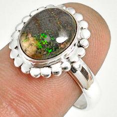 5.36cts natural honduran matrix opal 925 silver solitaire ring size 8 r76037