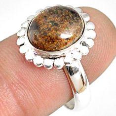 5.36cts natural honduran matrix opal 925 silver solitaire ring size 8 r76045