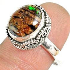 5.31cts natural honduran matrix opal 925 silver solitaire ring size 8 r76062