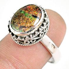 5.07cts natural honduran matrix opal 925 silver solitaire ring size 8 r76073