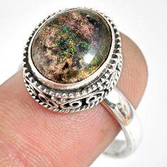 5.74cts natural honduran matrix opal 925 silver solitaire ring size 8 r76097