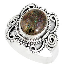 4.52cts natural honduran matrix opal 925 silver solitaire ring size 8 r77692