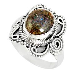4.30cts natural honduran matrix opal 925 silver solitaire ring size 8 r77714