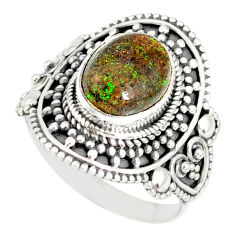 4.38cts natural honduran matrix opal 925 silver solitaire ring size 8 r77727