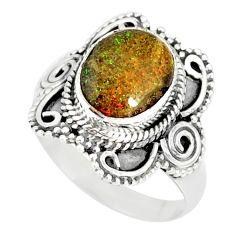 4.11cts natural honduran matrix opal 925 silver solitaire ring size 8 r77734
