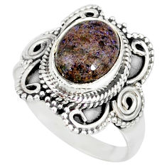 4.30cts natural honduran matrix opal 925 silver solitaire ring size 8 r77739