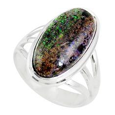 9.05cts natural honduran matrix opal 925 silver solitaire ring size 8 r80349