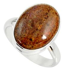 9.56cts natural honduran matrix opal 925 silver solitaire ring size 9 r34380