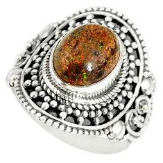 4.38cts natural honduran matrix opal 925 silver solitaire ring size 9 r77681