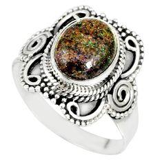 4.19cts natural honduran matrix opal 925 silver solitaire ring size 9 r77697