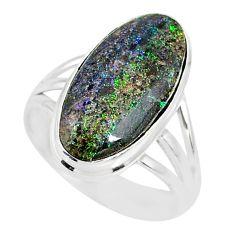 9.11cts natural honduran matrix opal 925 silver solitaire ring size 9 r80334