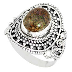 4.38cts natural honduran matrix opal oval silver solitaire ring size 7 r77724