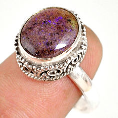 5.53cts natural honduran matrix opal oval silver solitaire ring size 8 r76084