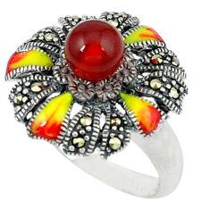 Natural honey onyx fine marcasite enamel 925 silver ring size 6.5 c18636