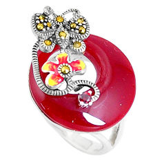 9.42cts natural honey onyx garnet enamel 925 silver ring size 5.5 c16087