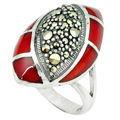 5.27cts natural honey onyx marcasite 925 sterling silver ring size 5.5 c18751