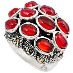 Natural honey onyx marcasite 925 sterling silver ring jewelry size 6.5 c22964