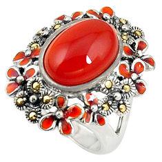 Natural honey onyx marcasite enamel 925 silver ring size 7.5 c16034
