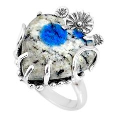 12.55cts natural k2 blue (azurite in quartz) silver heart ring size 7 r67538