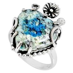13.15cts natural k2 blue (azurite in quartz) silver heart ring size 8 r67520