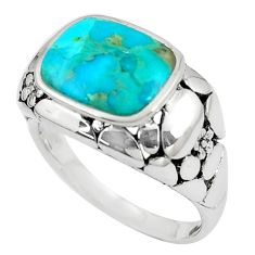 4.54cts natural kingman turquoise 925 silver solitaire ring size 8.5 c10613