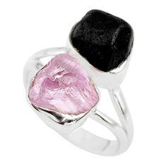 11.23cts natural kunzite black tourmaline raw 925 silver ring size 7 t21012