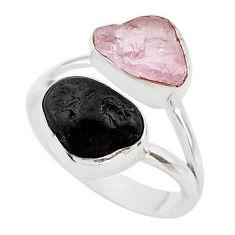 9.96cts natural kunzite black tourmaline raw 925 silver ring size 8 t21010