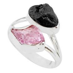 10.78cts natural kunzite black tourmaline raw 925 silver ring size 8 t21014