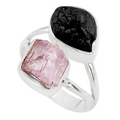 11.23cts natural kunzite black tourmaline raw 925 silver ring size 6.5 t21009