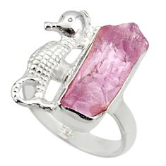 6.57cts natural kunzite rough 925 silver seahorse solitaire ring size 5.5 r29981
