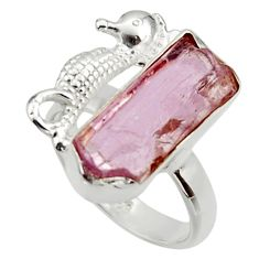 9.42cts natural kunzite rough 925 silver seahorse solitaire ring size 7 r29982