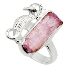 6.53cts natural kunzite rough 925 silver seahorse solitaire ring size 7 r29987
