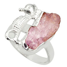 6.54cts natural kunzite rough 925 silver seahorse solitaire ring size 7 r29990