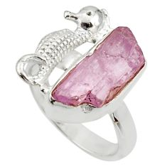 6.84cts natural kunzite rough 925 silver seahorse solitaire ring size 7 r29991