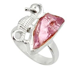6.54cts natural kunzite rough 925 silver seahorse solitaire ring size 7 r29994