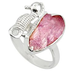 6.84cts natural kunzite rough 925 silver seahorse solitaire ring size 8 r29988