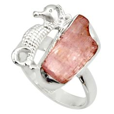 7.36cts natural kunzite rough 925 silver seahorse solitaire ring size 8 r29996