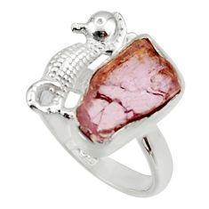 7.66cts natural kunzite rough 925 silver seahorse solitaire ring size 8 r29997