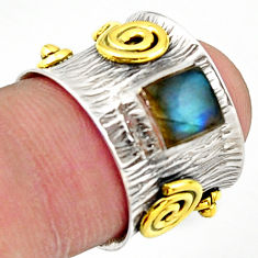 1.13cts natural labradorite 925 silver 14k gold solitaire ring size 5.5 d46317