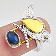 2.20cts natural labradorite 925 silver 14k gold solitaire ring size 7.5 r37317
