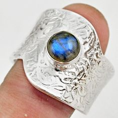 2.58cts natural labradorite 925 silver adjustable solitaire ring size 9 r21353