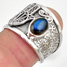 Natural labradorite 925 silver hand of god hamsa solitaire ring size 6.5 d46439