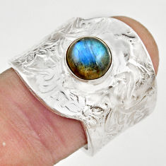 2.51cts natural labradorite silver adjustable solitaire ring size 7.5 r21341