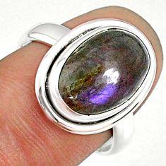 6.04cts natural labradorite spectrolite finland 925 silver ring size 7 r69902