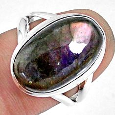 9.63cts natural labradorite spectrolite finland 925 silver ring size 7 r69905