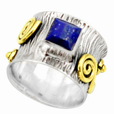 1.18cts natural lapis lazuli 925 silver 14k gold solitaire ring size 5.5 d46308