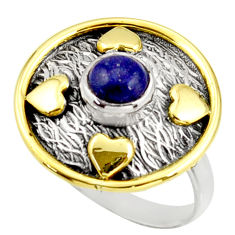 1.16cts natural lapis lazuli 925 silver 14k gold solitaire ring size 7.5 r37292